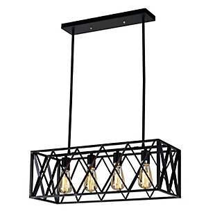 A Touch of Design 4-Light Cage-Style Hanging Chandelier, Black, , large