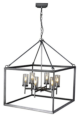 A Touch of Design A Touch of Design 6-Light Lantern Style Chandelier, Silver, , rollover