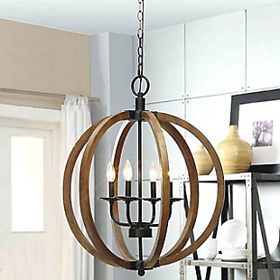 A Touch of Design 4-Light Wooden Orb Chandelier, , rollover