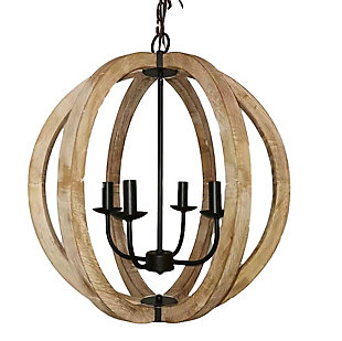 A Touch of Design A Touch of Design 4-Light Wooden Orb Chandelier, , large