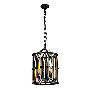 A Touch of Design 4-Light Wrought Iron Cage Chandelier, , large