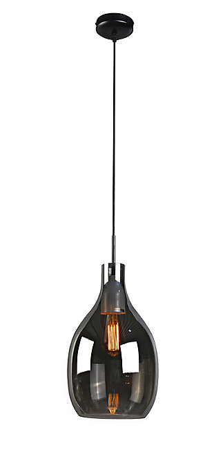 A Touch of Design 1-Light Gray Glass Pendant, Gray, large