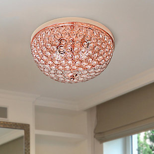 Home Accents Elegant Designs 2 Light Elipse Crystal Flushmount 2 Pack, RoseGd, Rose Gold, rollover