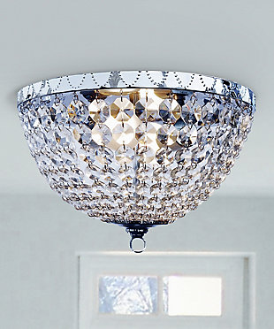 Home Accents Elegant Designs 2 Light Victoria Crystal Rain Drop Flushmount, , rollover