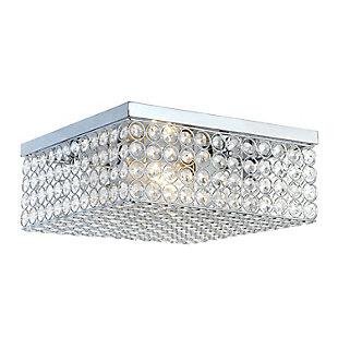 "Home Accents Elegant Designs 12"" Elipse Square Flushmount, Chrome, large"