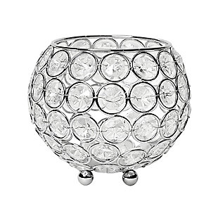 """Home Accents Elegant Designs Elipse 4.25"""" Crystal Round Accent Candle Holder, , large"""
