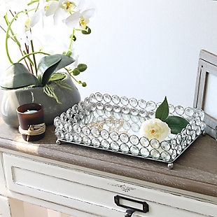 Home Accents Elegant Designs Elipse Crystal Mirrored Vanity Tray, Chrome, , rollover