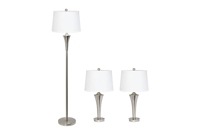 Home Accents Elegant Designs Tapered 3 Pk BSN Lamp Set w/ White Shades, , large