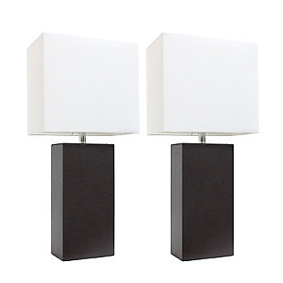 Home Accents Elegant Designs 2 Pk Modern Leather Table Lamp Set, Brown, Brown, large