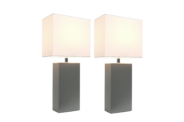 Home Accents Elegant Designs 2 Pk Modern Leather Table Lamp Set, Gray, Gray, large