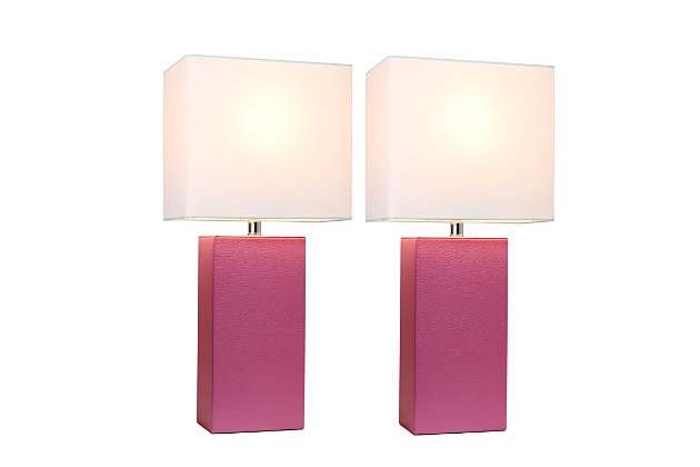 Home Accents Elegant Designs 2 Pk Modern Leather Table Lamp Set, Hot Pink, Burgundy, large