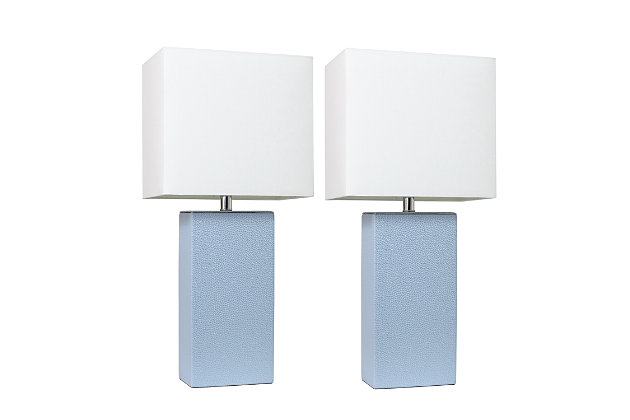 Home Accents Elegant Designs 2 Pk Modern Leather Table Lamp Set, Periwnkl, Periwinkle, large