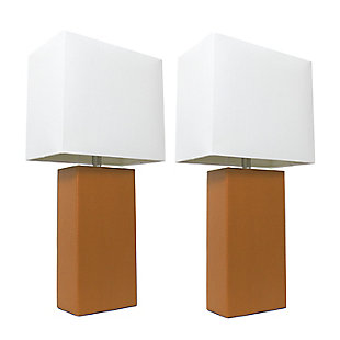 Home Accents Elegant Designs 2 Pk Modern Leather Table Lamp Set, Tan, Tan, large