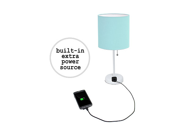 Home Accents LimeLights White Stick Lamp w Charging Outlet 2 Pack, Aqua, Aqua, large