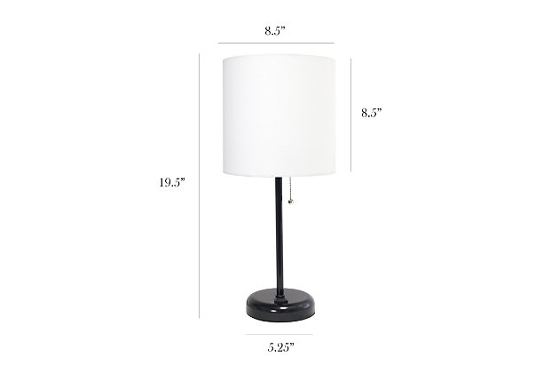 Home Accents LimeLights Black Stick Lamp w Charging Outlet 2 Pack, White, , large
