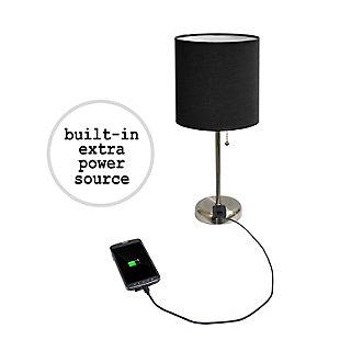 Home Accents LimeLights Brushed Stl Stick Lamp w Charging Outlet 2 Pk, Black, Black, large