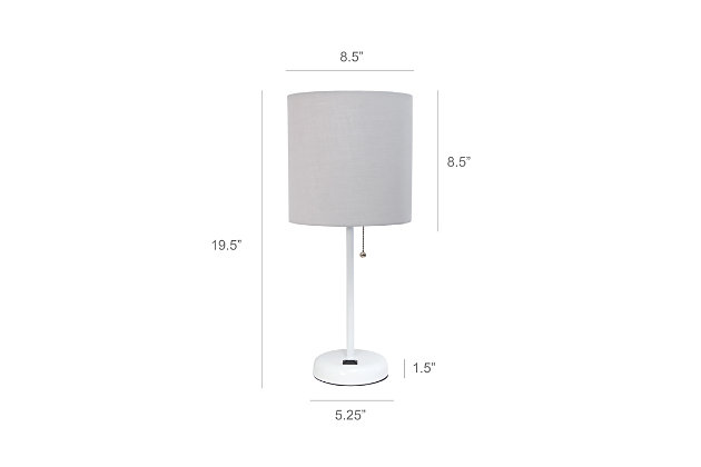 Home Accents LimeLights White Stick Lamp w Charging Outlet 2 Pack, Gray, Gray, large