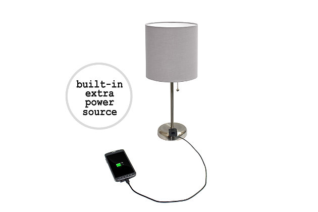Home Accents LimeLights Brushed Stl Stick Lamp w Charging Outlet 2 Pk, Gray, Gray, large
