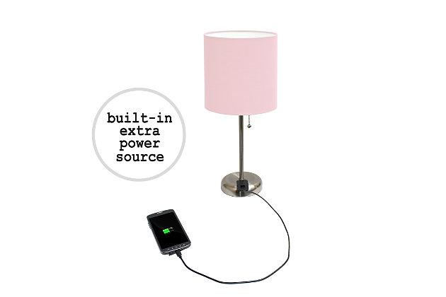 Home Accents LimeLights Brushed Stl Stick Lamp w Charging Outlet 2 Pk,Light Pnk, Light Pink, large