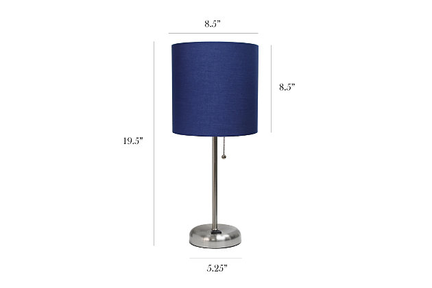 Home Accents LimeLights Brushed Stl Stick Lamp w Charging Outlet 2 Pk, Navy, Navy, large
