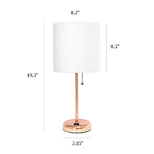 Home Accents LimeLights Rose Gold Stick Lamp w Charging Outlet 2 Pk, White, , large
