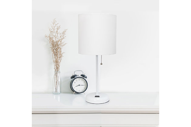 Home Accents LimeLights White Stick Lamp w Charging Outlet 2 Pk, White, White, large