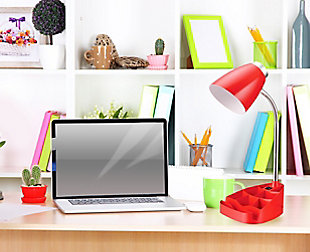 Home Accents LimeLights Gooseneck Organizer Desk Lamp w Device Holder, Red, Red, large