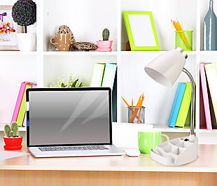 Home Accents LimeLights Gooseneck Organizer Desk Lamp w Device Holder, White, White, rollover