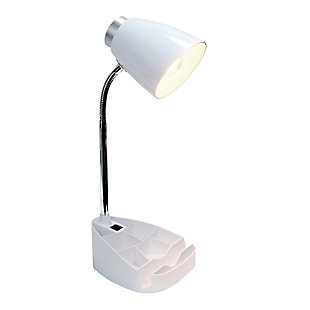 Home Accents LimeLights Gooseneck Organizer Desk Lamp w Device Holder, White, White, large