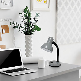 Home Accents Simple Designs Basic Metal Desk Lamp with Flexible Hose Neck, Gray, rollover
