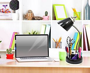 Home Accents LimeLights Flossy Orgnzr Desk Lamp w Charging Lazy Susan Base, Black, rollover