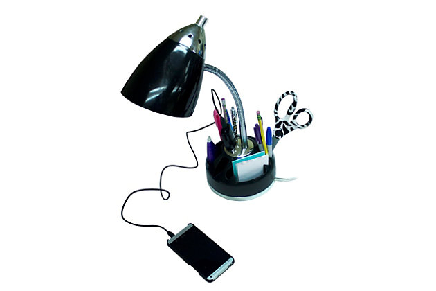 Home Accents LimeLights Flossy Orgnzr Desk Lamp w Charging Lazy Susan Base, Black, large