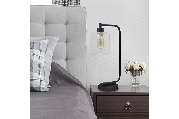 Home Accents Simple Designs Industrial Iron Desk Lamp w Gls Shade, Black, Black, large