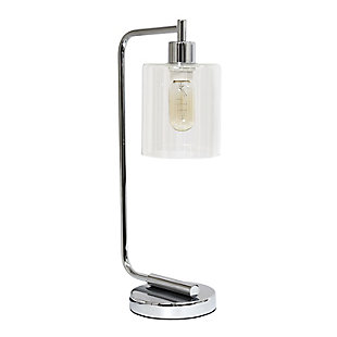 Home Accents Simple Designs Industrial Iron Desk Lamp w Gls Shade, Chrome, Chrome, large