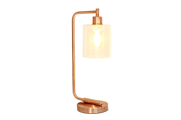 Home Accents Simple Designs Industrial Iron Desk Lamp w Gls Shade, RoseGd, Rose Gold, large