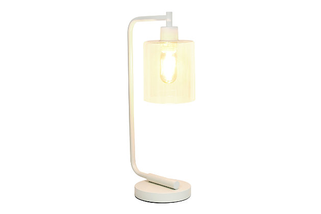 Home Accents Simple Designs Industrial Iron Desk Lamp w Gls Shade, White, White, large