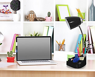 Home Accents LimeLights BLK Gooseneck Orgnzr Desk Lamp w Device Holder & USB, Black, rollover