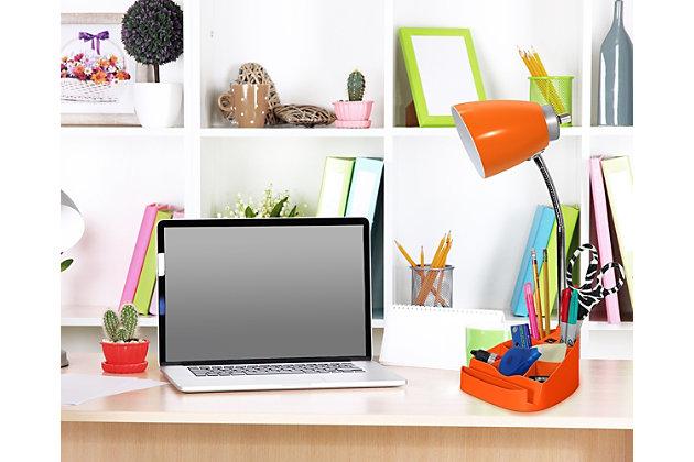 Home Accents LimeLights ORG Gooseneck Orgnzr Desk Lamp w Device Holder & USB, Orange, large
