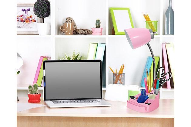 Home Accents LimeLights PNK Gooseneck Orgnzr Desk Lamp w Device Holder & USB, Pink, large