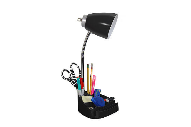 Home Accents LimeLights BLK Organizer Lamp w Device Holder & Charging Outlet, Black, large