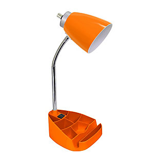 Home Accents LimeLights ORG Organizer Lamp w Device Holder & Charging Outlet, Orange, large