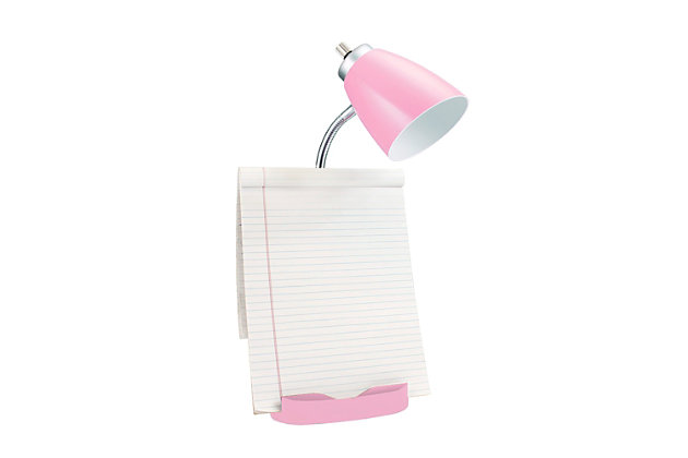 Home Accents LimeLights PNK Organizer Lamp w Device Holder & Charging Outlet, Pink, large