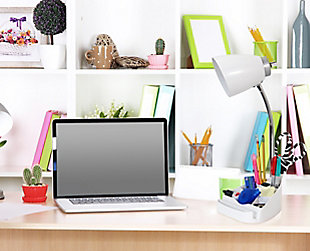 Home Accents LimeLights WHT Organizer Lamp w Device Holder & Charging Outlet, White, rollover