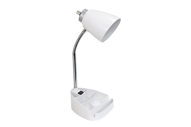Home Accents LimeLights WHT Organizer Lamp w Device Holder & Charging Outlet, White, large