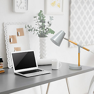 Home Accents Simple Designs Gray Matte and Wooden Pivot Desk Lamp, Gray, rollover