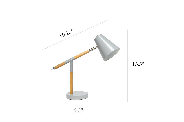 Home Accents Simple Designs Gray Matte and Wooden Pivot Desk Lamp, Gray, large