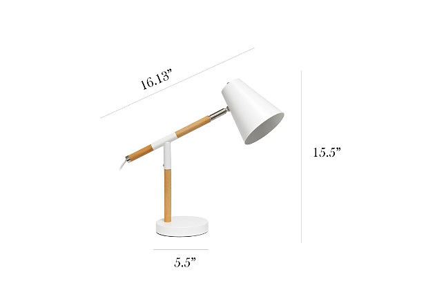 Home Accents Simple Designs White Matte and Wooden Pivot Desk Lamp, White, large