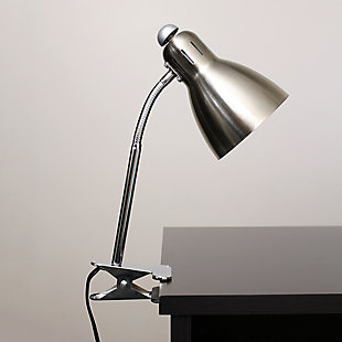 Home Accents Simple Designs Adjustable Clip Light Desk Lamp, Brushed Nickel, , rollover