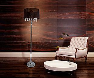 Home Accents Elegant Designs Romantic Sheer Shade Floor Lamp w Crystals, Black, rollover