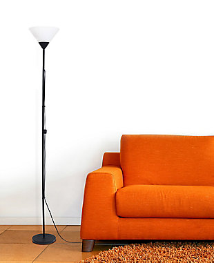 Home Accents Simple Designs 1 Light Stick Torchiere Floor Lamp, Black, rollover